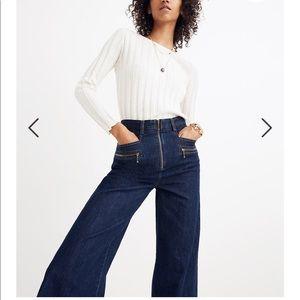 NWT! Madewell Blazar zip wide leg jeans